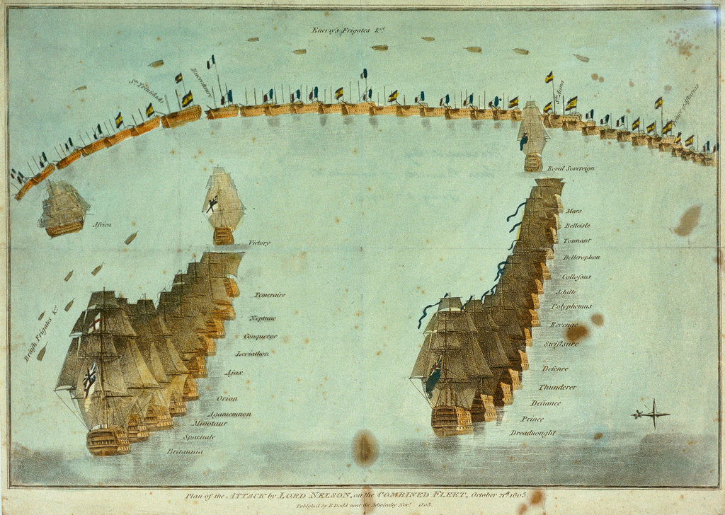 Detail of Plan of the attack by Lord Nelson, on the combined fleet, 21 October 1805 by Robert Dodd