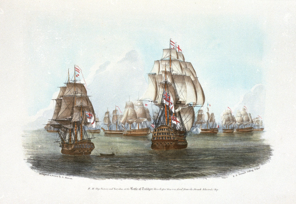 Detail of HMS 'Victory' and 'Euryalus' at the Battle of Trafalgar, when the first gun was fired from the French Admiral's Ship by A. Masson