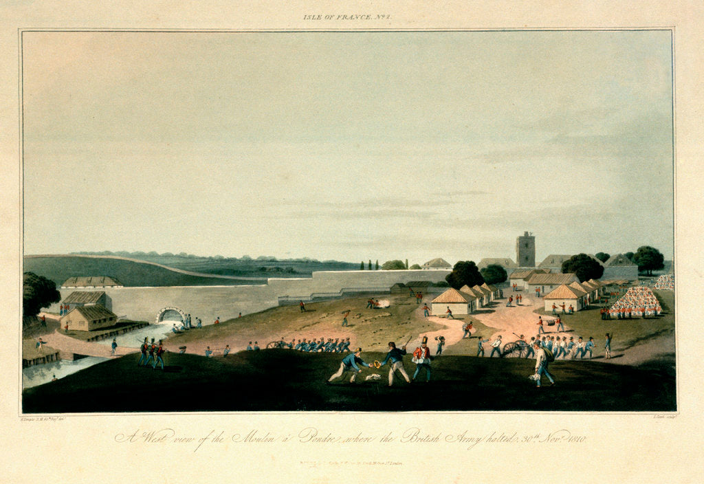 Detail of Isle of France No. 2. A west view of the Moulin a Pondre, where the British Army halted on 30 November 1810 by R. Temple