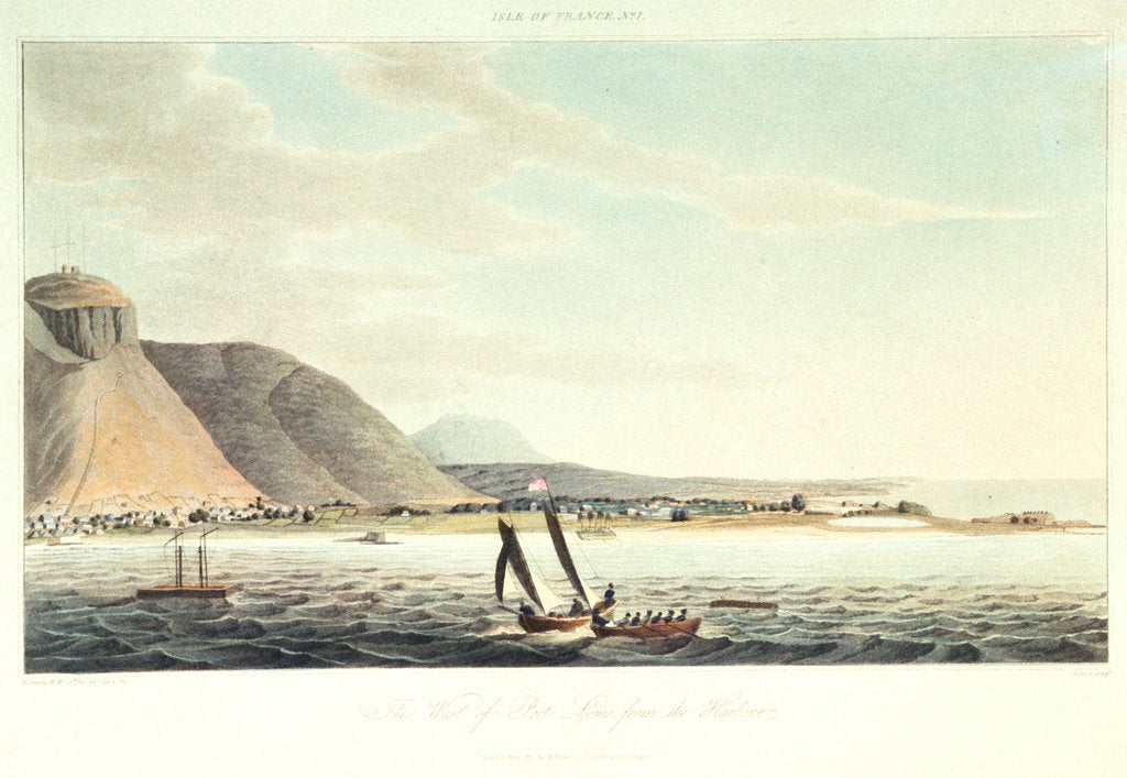 Detail of Isle of France No.7: the west of Port Louis from the harbour by R. Temple