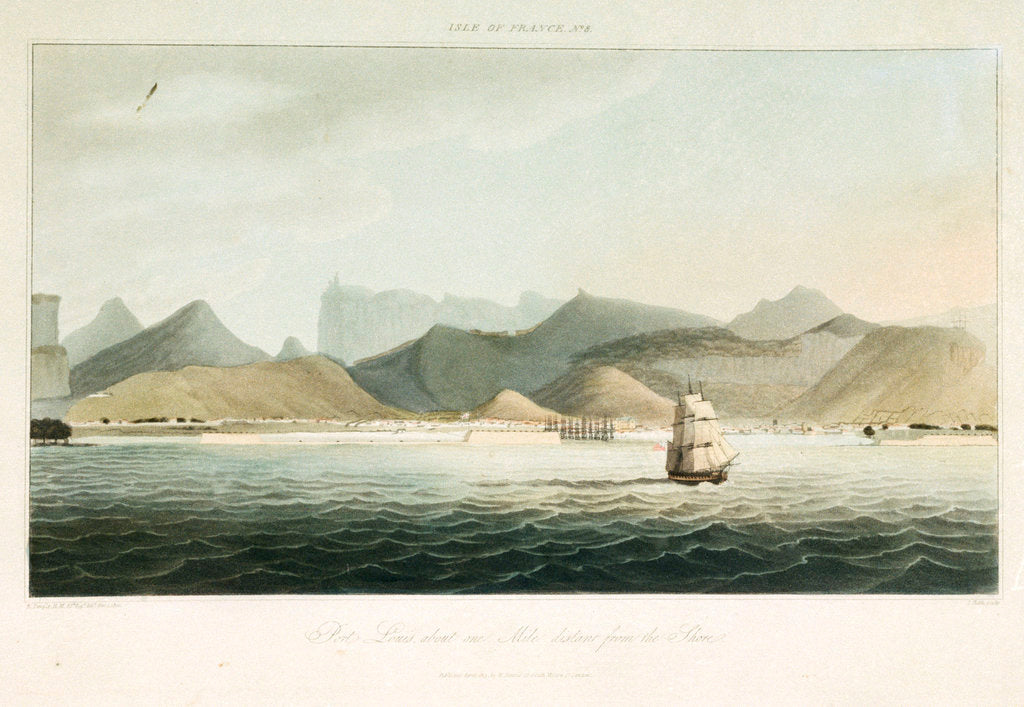 Detail of Isle of France No.8: Port Louis, about one mile distant from the shore by R. Temple