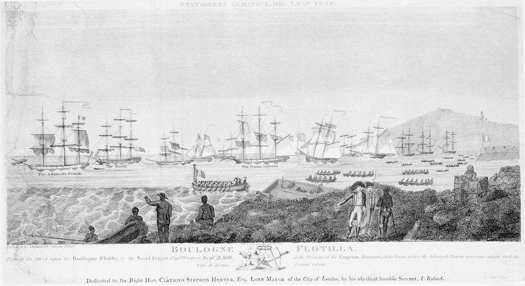 Detail of Plan of the attack upon the Boulogne flotilla, by the frigate 'Naiad', 21 September 1811 by I. Ryland