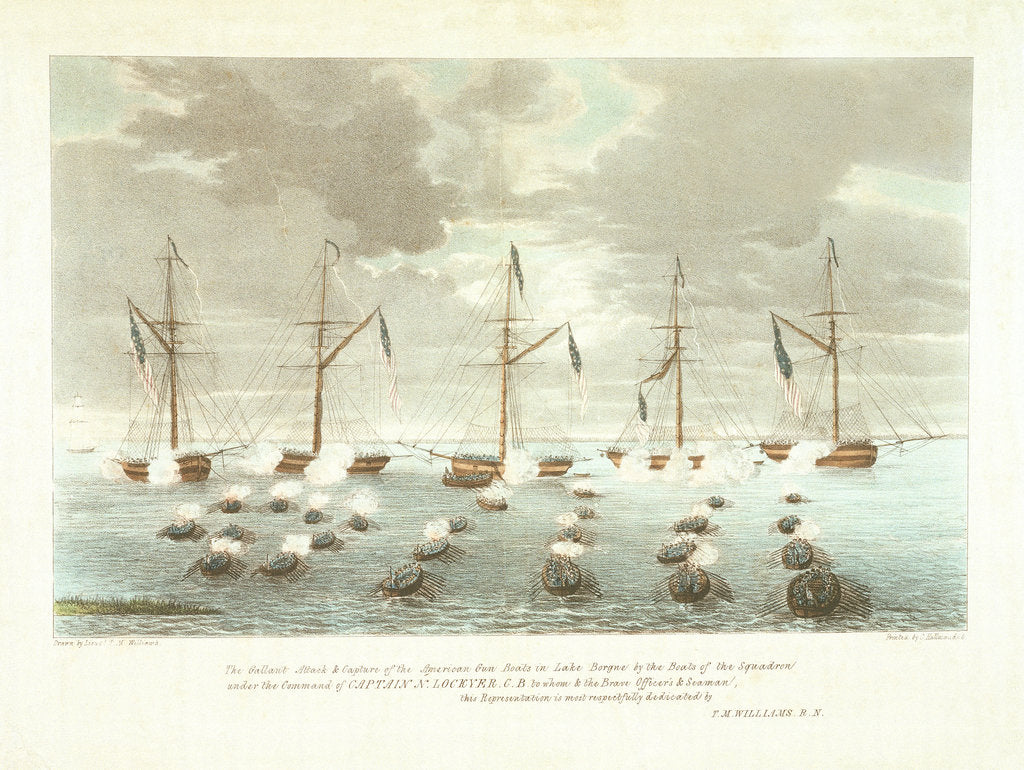Detail of 'The Gallant Attack & Capture of the American Gun Boats in Lake Borgne by the Boats of the Squadron under the Command of Captain N Lockyer by T.M. Williams