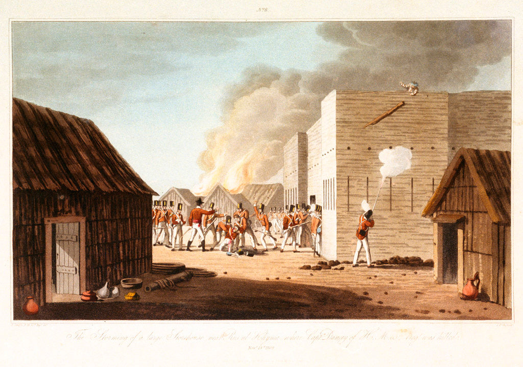 Detail of No. 8 'The storming of a storehouse near Rusal Khyma, 13 November 1809' by R. Temple