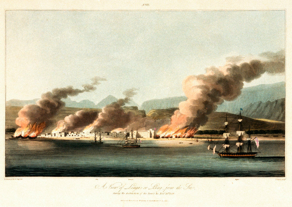 Detail of No. 10 'A view of Linga or Lung, from the sea, during the destruction of dhows on 16 November 1809' by R. Temple