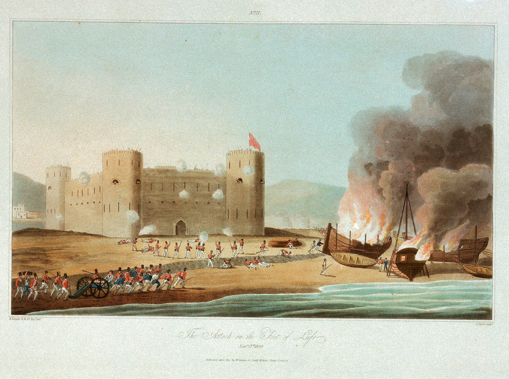 Detail of No. 12 'The attack on the fort of Luft, 27 November 1809' by R. Temple