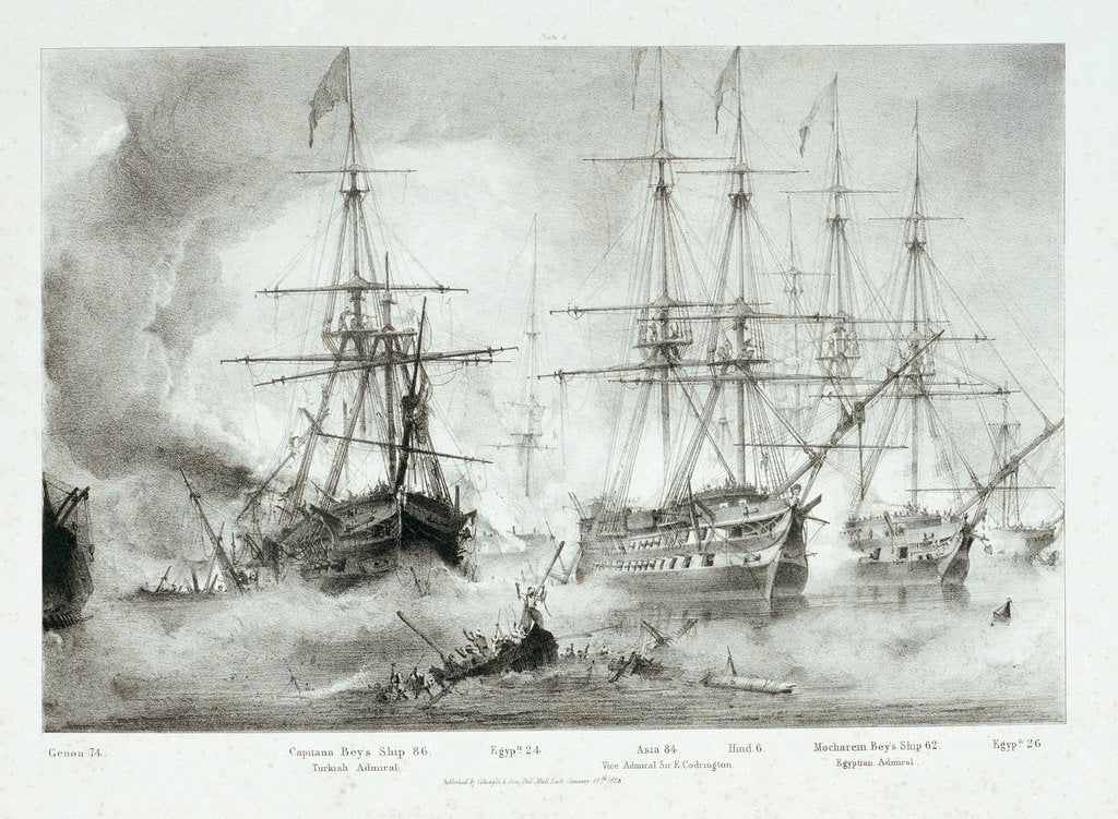 'Asia' and other vessels at the Battle of Navarino, 20 October 1827 by George Philip Reineagle