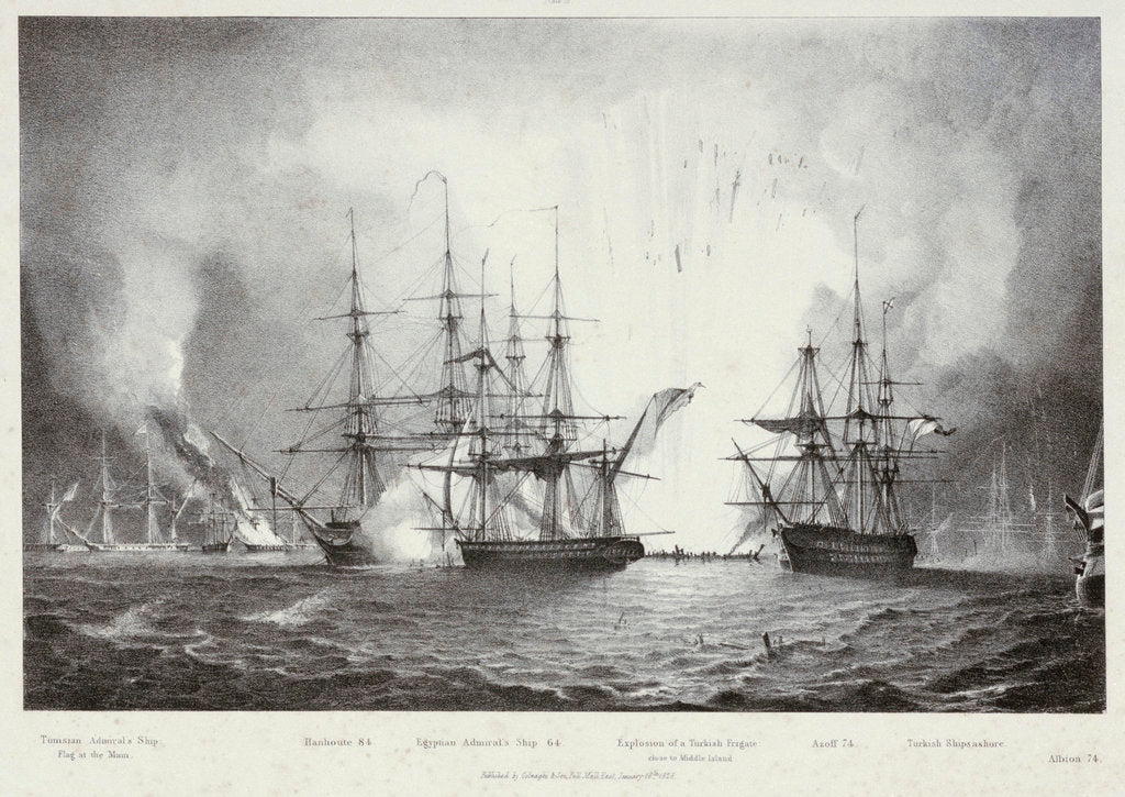 Detail of 'Hanhoute' and 'Azoff', with explosion of a Turkish frigate, at the Battle of Navarino, 20 October 1827 by George Philip Reineagle