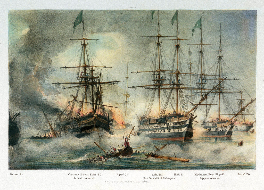 Detail of 'Asia' and other vessels at the Battle of Navarino, 20 October 1827 by George Philip Reineagle