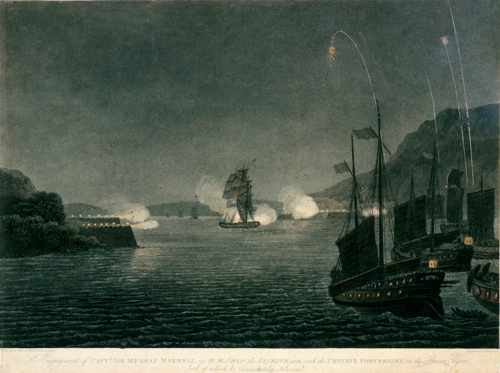 Detail of The Engagement of Capt. Sir Murray Maxwell in H.M. Ship the Alceste, 1816, with the Chinese Fortresses on the Bocca Tigris, both of which he immediately silenced by McLeod