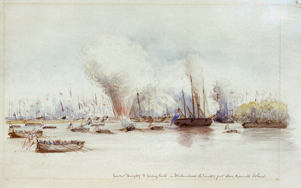 Detail of Gun boat Haughty & leading boats in Fatcham Creek 1st June 1857 just above Hyacinth Island by unknown