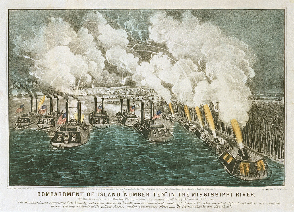 Detail of Bombardment of Island 'Number Ten' in the Mississippi River By the Gunboat and Mortar fleet, under the command of Flag Officer A.H. Foote by Currier & Ives (publishers)