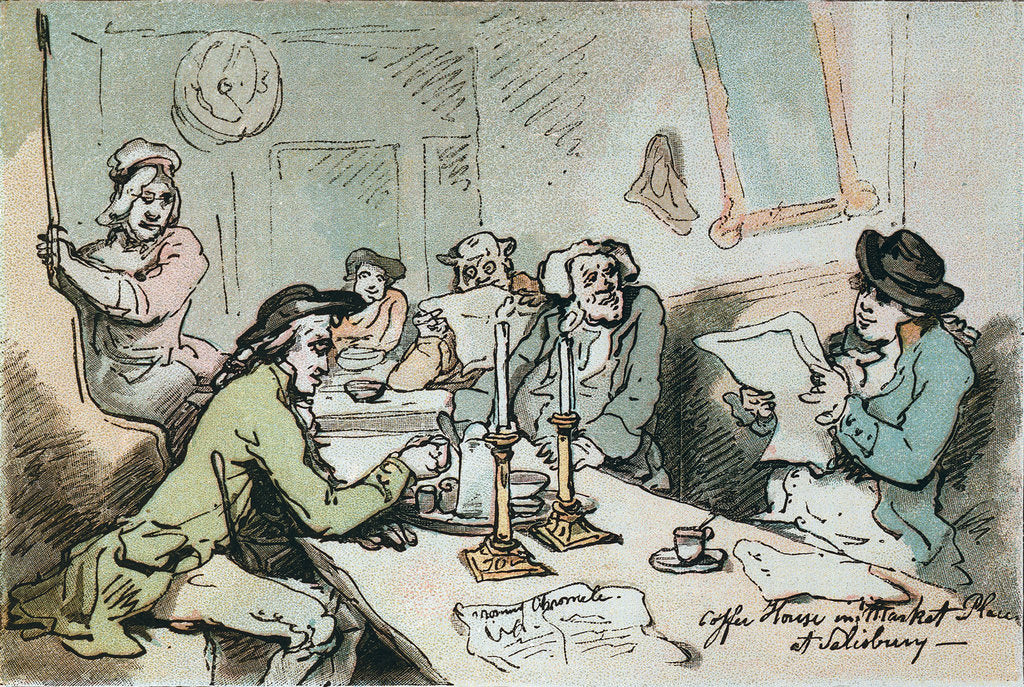 Detail of Coffee House in Salisbury Market Place by Thomas Rowlandson