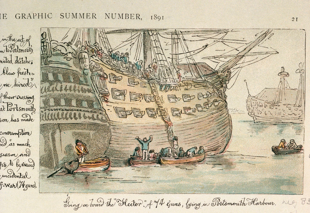 Detail of Going on board the Hector of 74 guns, lying in Portsmouth Harbour by Thomas Rowlandson