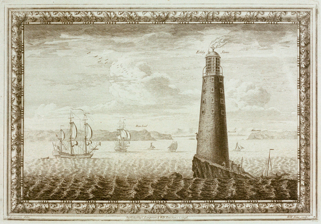Detail of Eddystone Lighthouse with shipping beyond by C. Lempriere