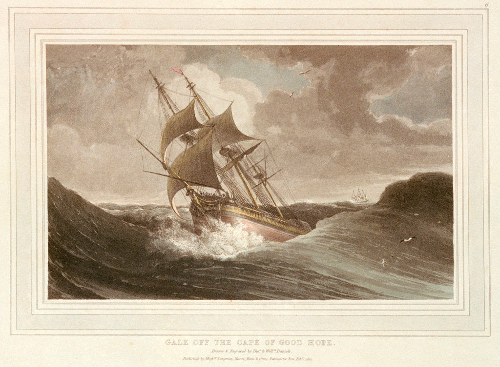 Detail of Gale off the Cape of Good Hope by Thomas Daniell
