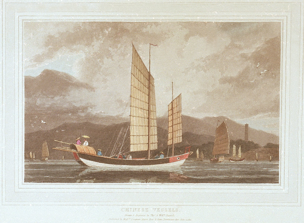 Detail of Chinese vessels by Thomas Daniell