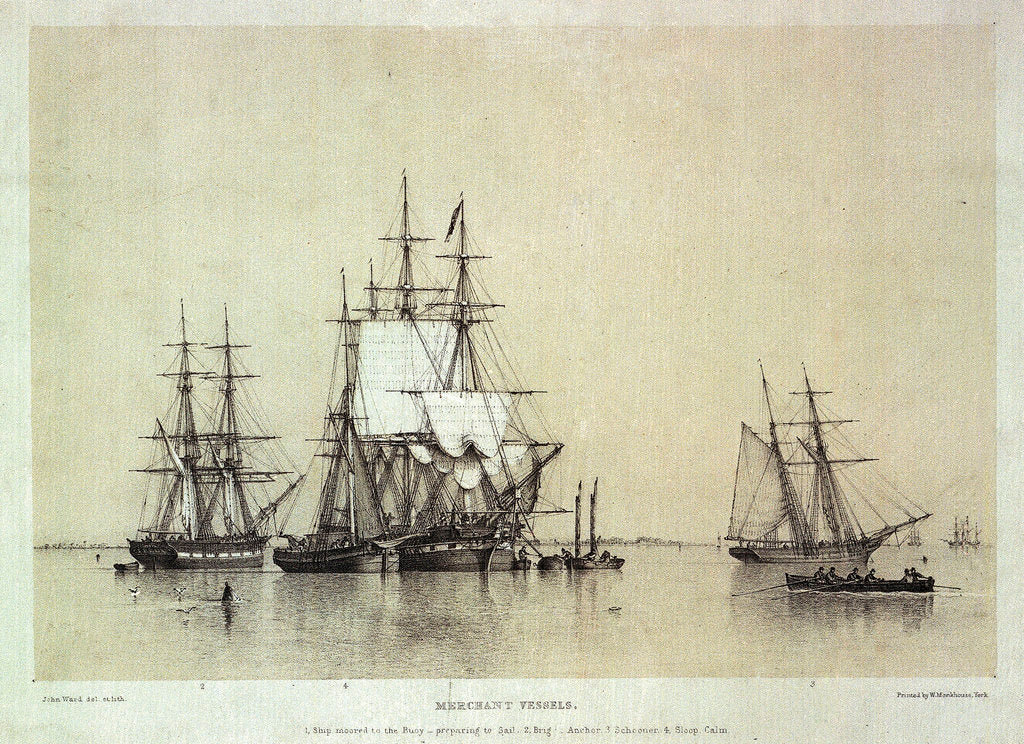 Detail of Marine Studies, merchant vessels by John Ward