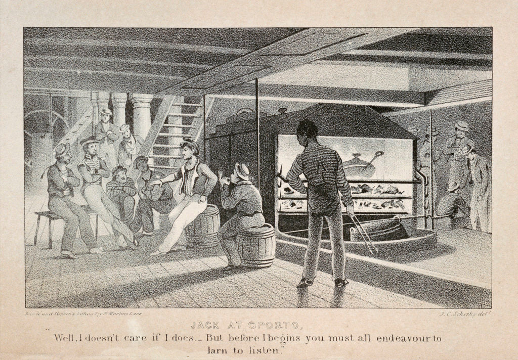 Detail of Scene below deck on a British naval sailing vessel, showing the galley fire ' Jack at Oporto...' by John Christian Schetky