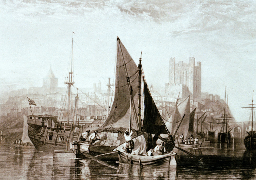 Detail of Thames barge carrying hay, a prison hulk and other shipping at Rochester, on the River Medway by Joseph Mallord William Turner