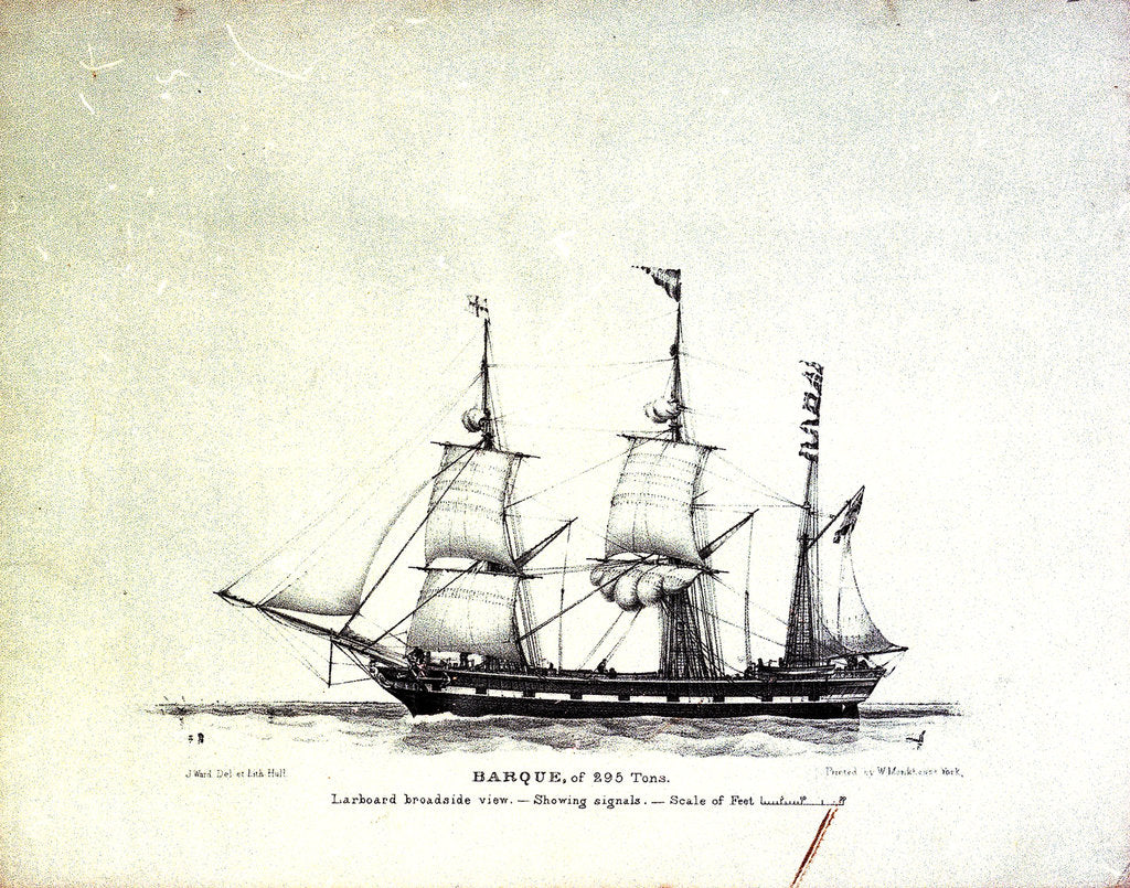 Detail of A barque of 295 tons by John Ward