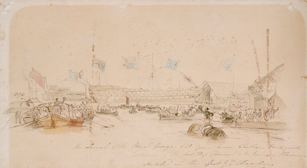 Detail of Launch of the Royal George by George Chambers