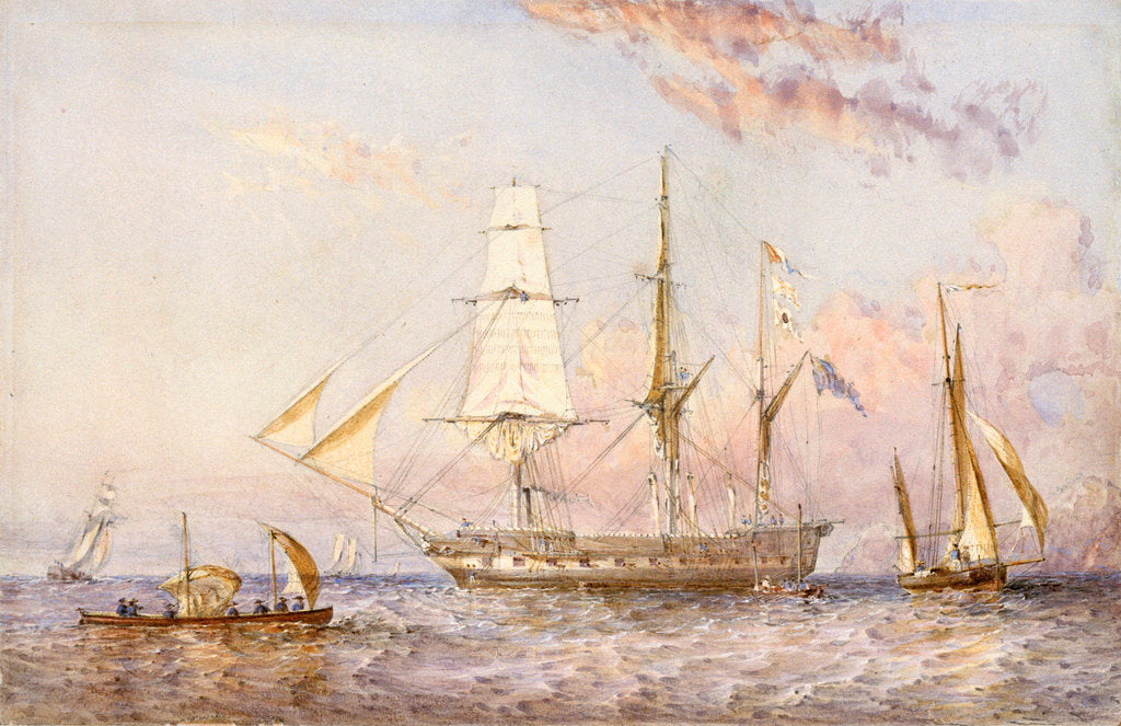 Detail of HMS 'Rattlesnake', 1853 by Oswald Walter Brierly