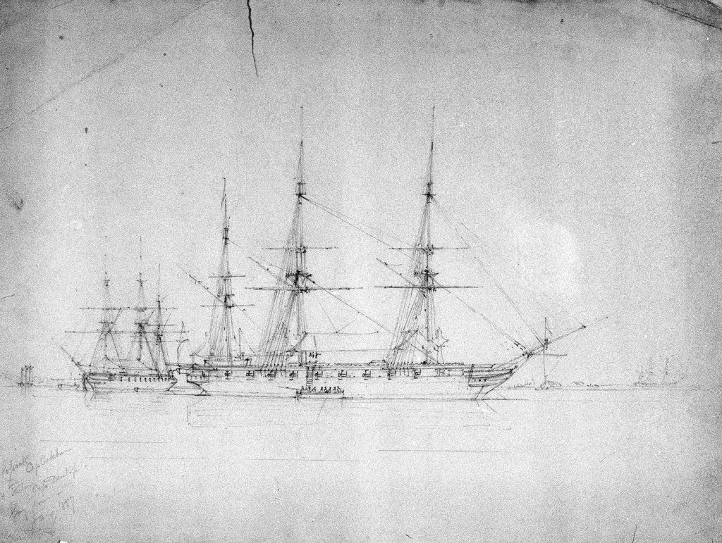 Detail of HMS 'Cossack' and 'Tartar', probably on the North American station, January 1857 by George Pechell Mends