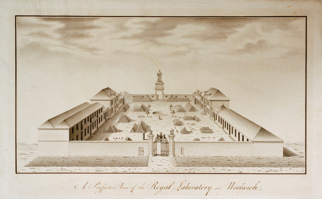Detail of A perspective view of the Royal Laboratory, Woolwich Arsenal by unknown