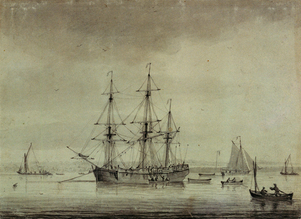 Detail of A merchant ship at anchor by unknown