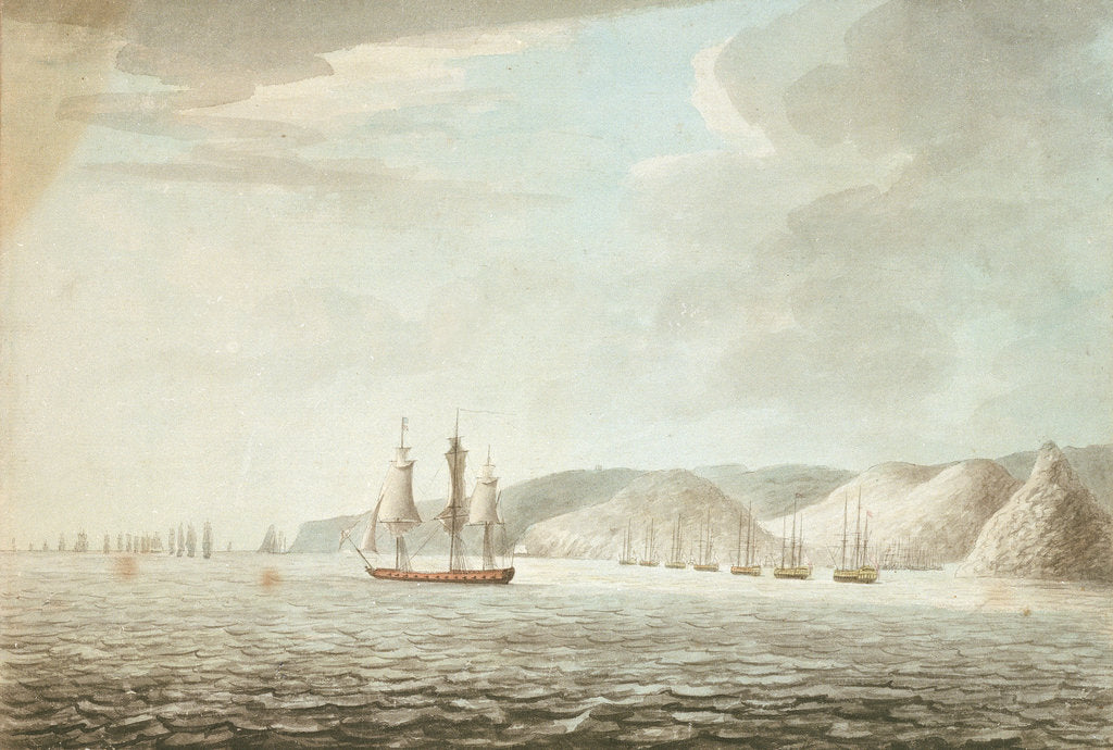'Barrington preparing to receive the French attack on the shipping in the Grand Cul de Sac in St Lucia, 14 Dec 1776'. by Dominic Serres