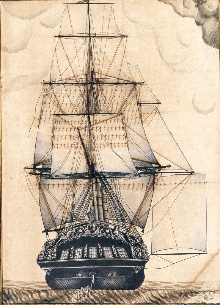 Detail of Study of the stern gallery of a vessel, also showing the rigging and sails by unknown