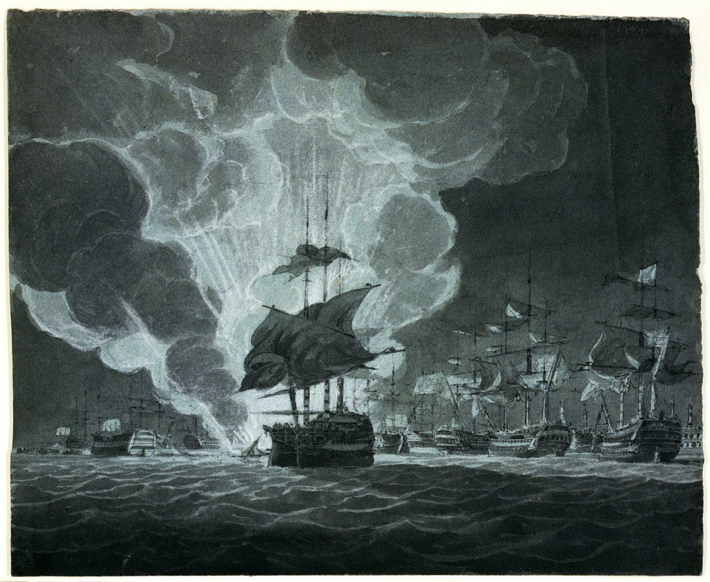 Detail of Fleet with a ship on fire by Robert Cleveley