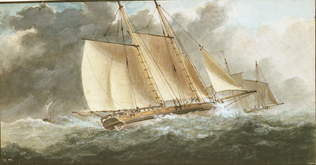 Detail of A schooner close-hauled in a strong breeze by Charles Gore