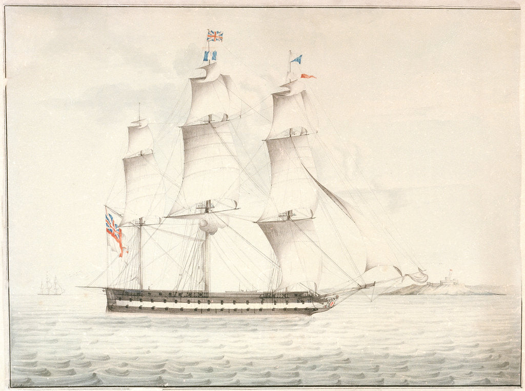 Detail of HMS 'Norge' (captured from the Danes 1807) off Pendennis Castle by W. H.