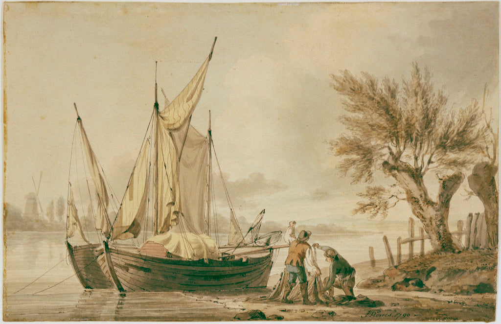 Detail of A river scene with fishing boats and fishermen sorting their nets on shore. by John Thomas Serres