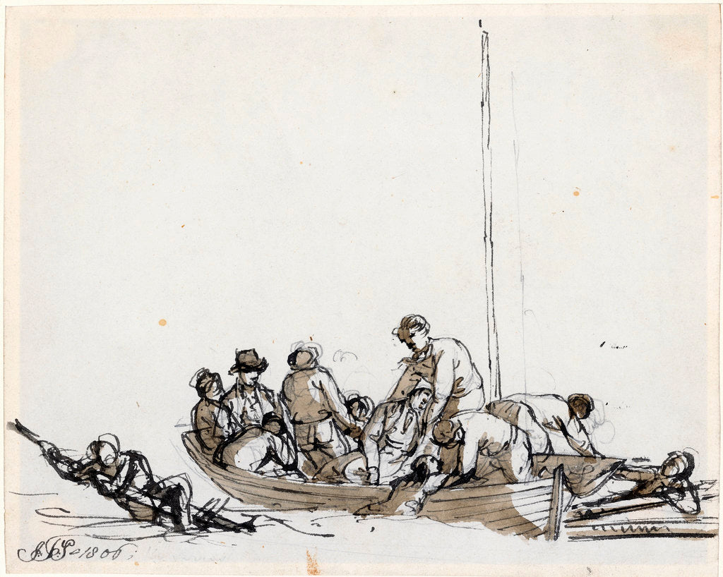 Detail of Sailors in a boat rescuing survivors by John Thomas Serres