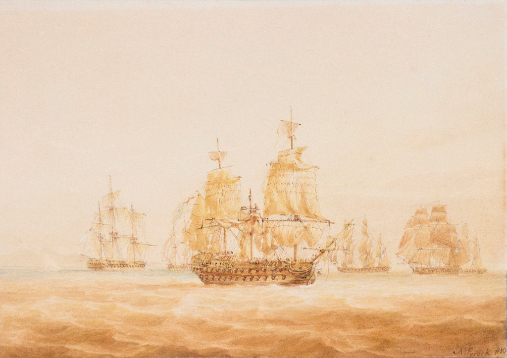 Detail of The 'Agamemnon' engaging four French frigates and a brig near Sardinia, 27 October 1793 by Nicholas Pocock