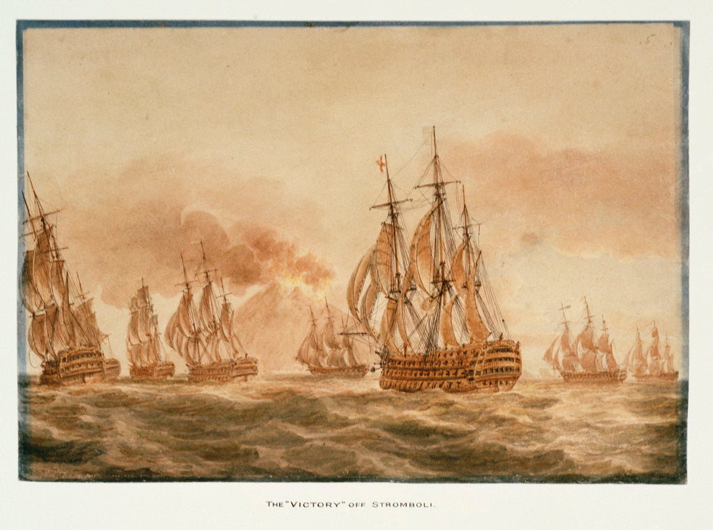 Detail of The 'Victory'  with the fleet off Stromboli,  January 1805 by Nicholas Pocock