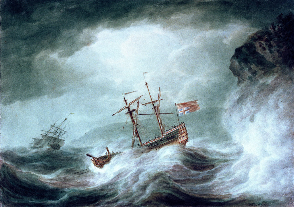 Detail of A storm, with an anchored ship in distress off rocky coast by Nicholas Pocock
