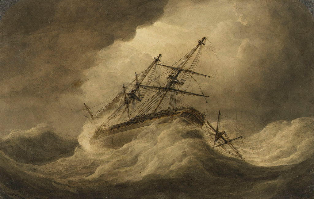 Detail of Attempt to Veer' in a stormy sea, illustration to Falconer's 'The Shipwreck by Nicholas Pocock