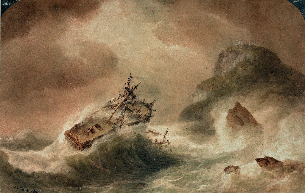 Detail of The Wreck of the 'Britannia' by Nicholas Pocock