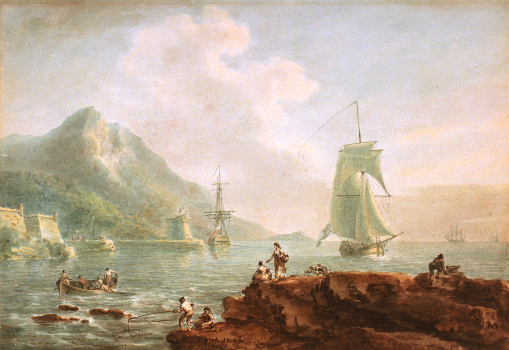 Detail of A cutter and a man-of-war off Corsica, 1788 by Nicholas Pocock