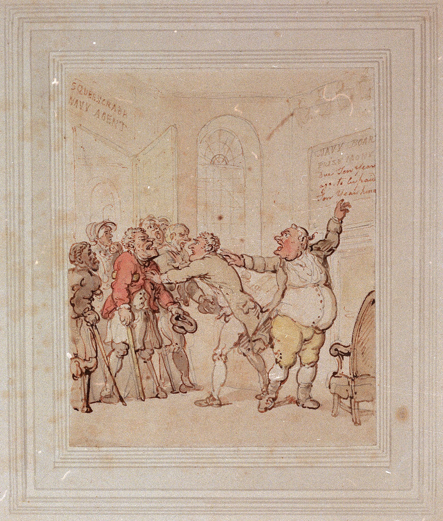 Detail of Navy agent refusing to pay prize money by Thomas Rowlandson