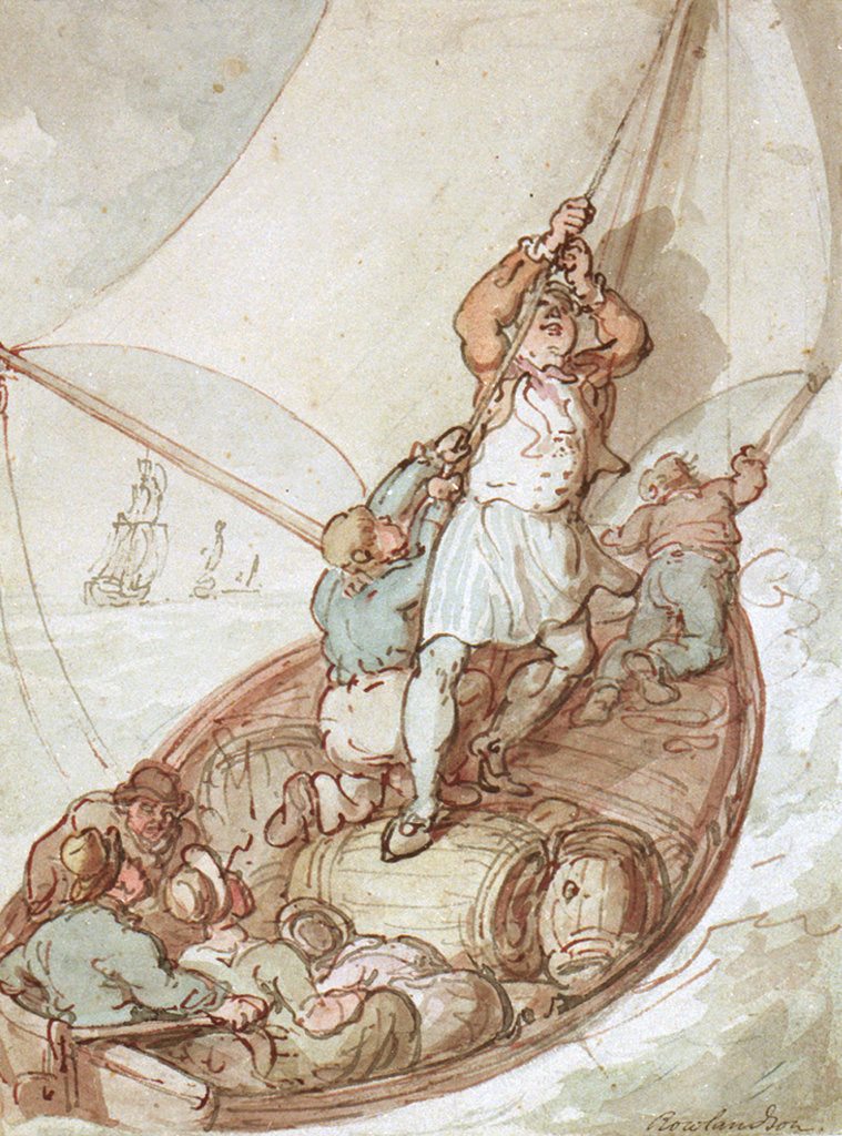 Detail of Hoisting sail in a boat by Thomas Rowlandson