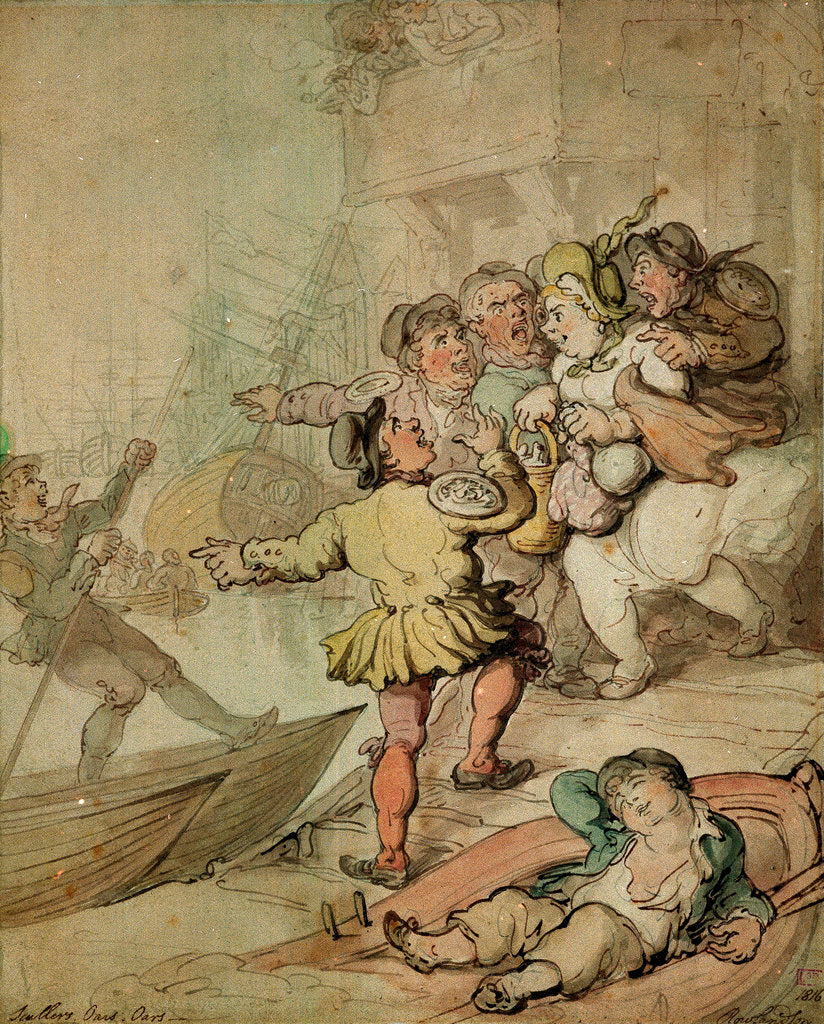 Detail of The Miseries of London....being assailed by a group of watermen.... by Thomas Rowlandson
