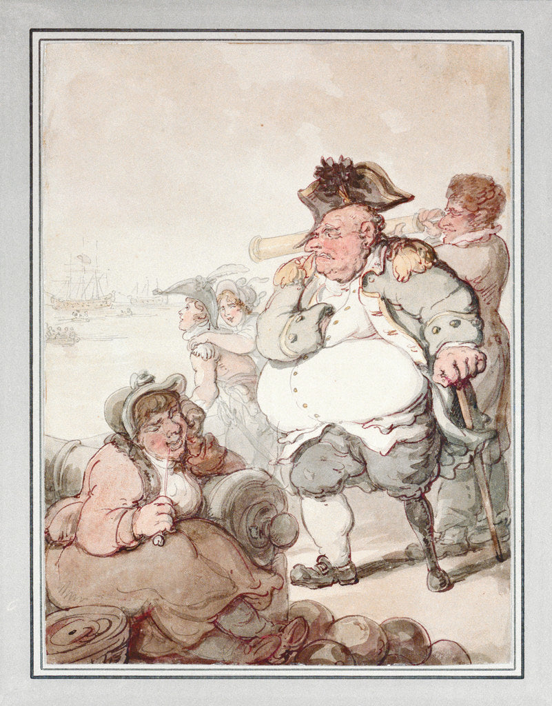 Detail of Admiral Pasley, the 'Tough Old Commodore'. 'The bullets and gout have knocked his hulk about' by Thomas Rowlandson