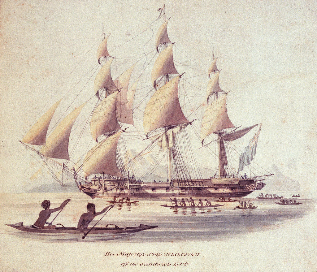 Detail of His Majesty's ship 'Blossom' off the Sandwich Islands by William Smyth