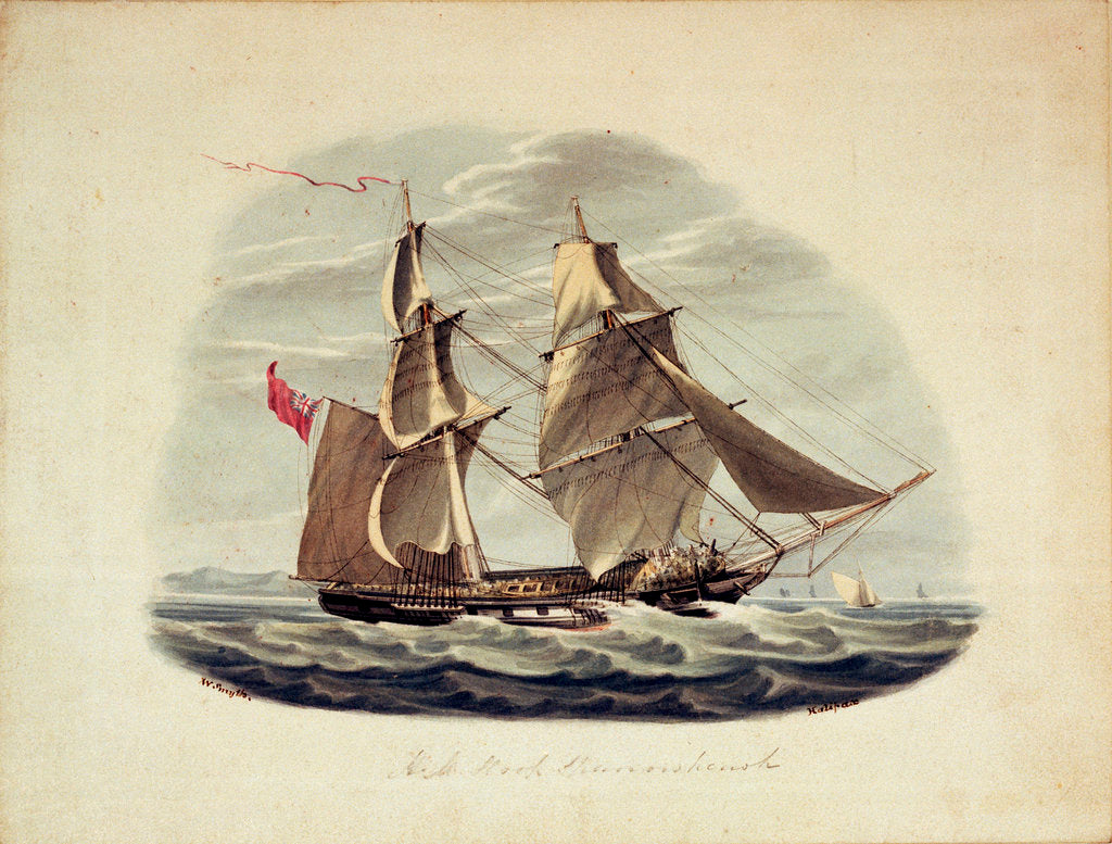 Detail of HM Sloop 'Sparrowhawk' by William Smyth