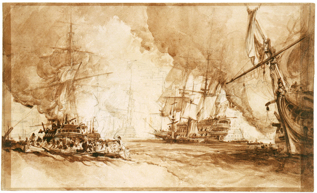 Detail of Study for the painting of Bombardment of Algiers, 1816 by George Chambers